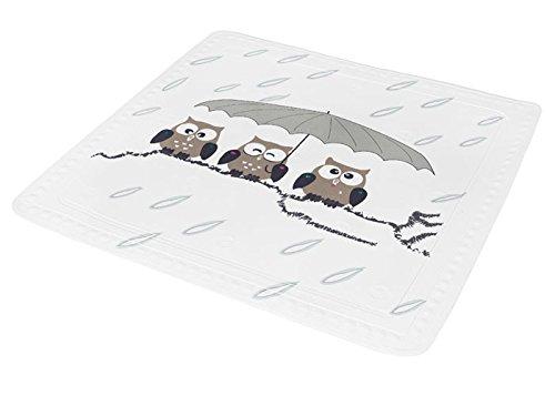 Kleine Wolke 5370271002 Duscheinlage Eule, 55 x 55 cm, taupe