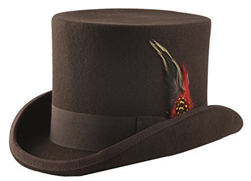 Wool Felt Top Hat Adult (Brown Wool Felt Top Hat - Size Large)