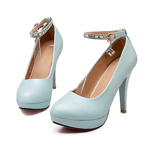 Balamasa Femmes Cheville Poignet Clouté Strass Boucles Métalliques Imitation Cuir Pompes-chaussures Bleu