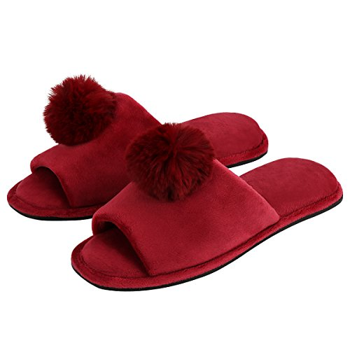 xhorizon FL1 Indoor Warm Fleece Slippers, Winter Soft Cozy Booties Non-Slip Plush Mules Home Bedroom Slip-On Shoes Ankle Boots Wine-red