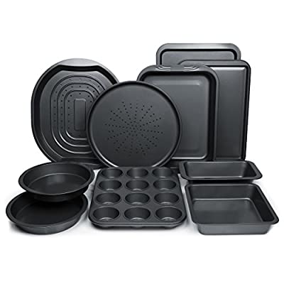 ChefLand 10-Piece Non-Stick Bakeware Set, Oven Crisper, Pizza Tray, Roasting, Loaf, Muffin, Square, 2 Round Cake Baking Pans, Large and Medium Nonstick Cookie Sheet Bake Ware for Home Kitchen Use by ChefLand