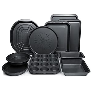 ChefLand 10-Pc. Nonstick Bakeware Set |Premium Baking Sheets, Baking Pans, Roasting Pan, Pizza Pan, Crisper Pan, Cake…