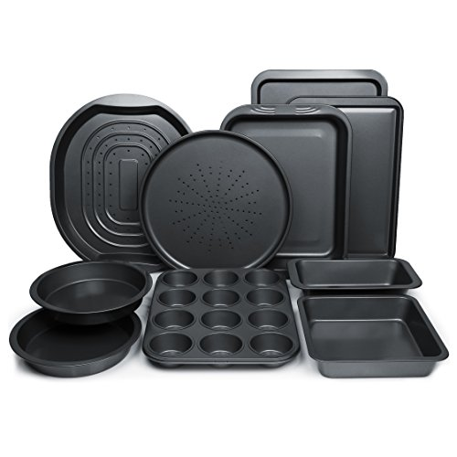 ChefLand 10-Piece Non-Stick Bakeware Set, Oven Crisper, Pizza Tray, Roasting, Loaf, Muffin, Square, 2 Round Cake Baking Pans, Large and Medium Nonstick Cookie Sheet Bake Ware for Home Kitchen Use (Bakeware Supplies)