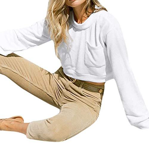 Women Long Sleeve Hoodie Pocket Short Sweatshirt Ladies Jumper Pullover Tops(White-Medium) -