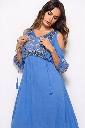 CLOVER Kleider Minirock Sommer Shirt Beiläufiges Frauen T A Blue Trägerlose Kleid Halbe Hülsen LUCKY dw6zqx1q