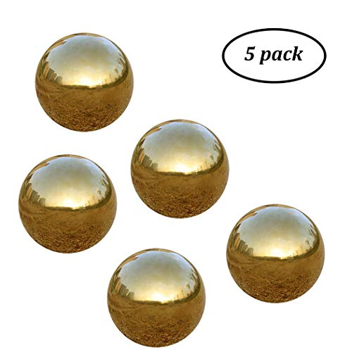 Pack of 5, Gold Stainless Steel Gazing Ball for Homes and Gardens Ornament, Hollow Ball Mirror Polished Shiny Sphere (1.65 Inch) by USHome