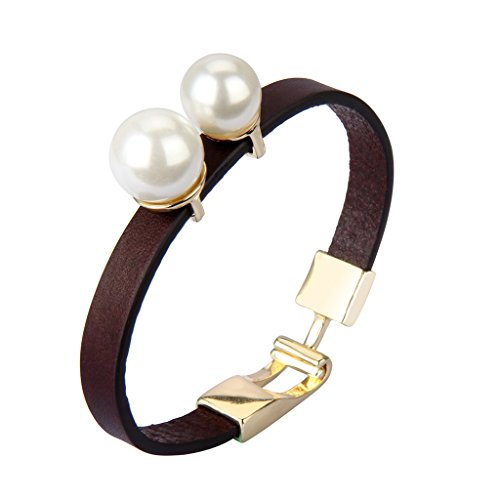 Jenia Women Leather Wrap Bracelet Italian Wristband Pearl Cuff Bangle Handmade Jewelry for Ladies, Mother, Teens Girls Gift with Cuff-Links ()