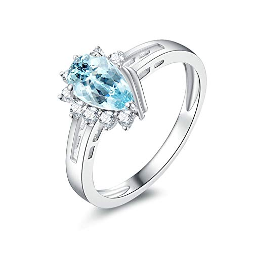 KnSam Sterling Silver Jewelry Ring for Women Fashion Pear Shape Topaz 5x8MM Size 9
