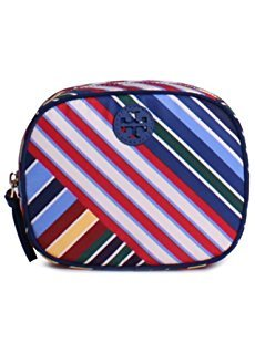 Tory Burch Ella Strip Flemming Quilted Cosmetic Bag