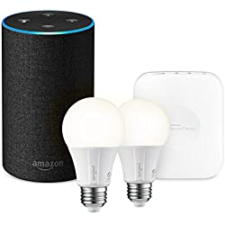 Echo (2nd Generation) - Charcoal Fabric + SmartThings Hub + 2 Element Smart Bulbs
