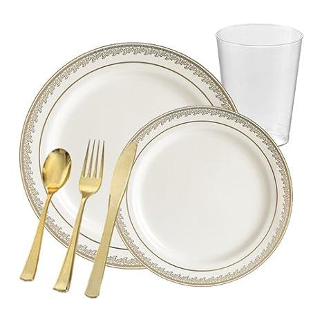 POSH Fuentes del partido | Prestige marfil y oro plástico vajilla paquete para 20 personas |
