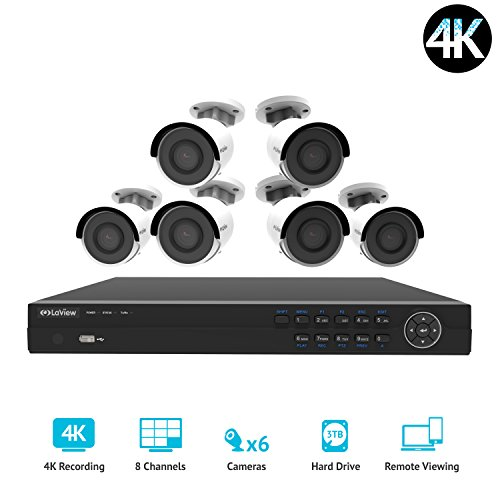 LaView 8 channel 4K home security system with 6 8MP 4K Bullet Cameras, 3TB Storage - Outdoor weatherprood IP Poe Surveillance cameras, 100ft Night Vision - LV-KNG960886G8-T3