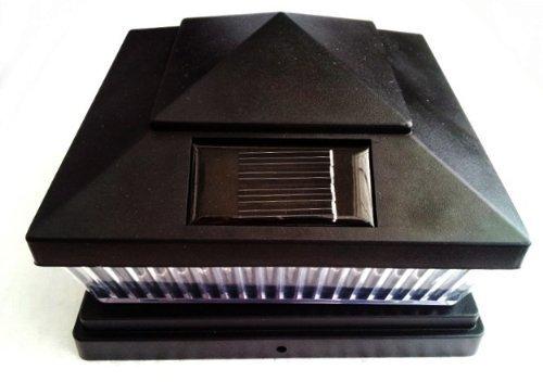 4-pack Solar BLACK SEMI-GLOSS TEXTURED FINISH Post Deck Fence Cap Lights for 5