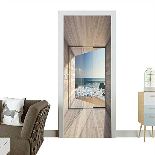 - Decorative Door Decal Empty Modern Lounge Area with Large Bay Window and View of sea D Render. Stick The Picture on The Door W30 x H80 INCH