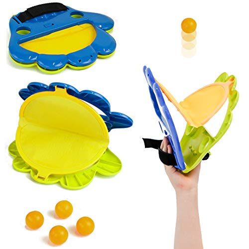 (Taylor Toy Pop and Catch Indoor/Outdoor Hand Ping-Pong Launcher - Indoor, Backyard & Beach Game - Kids Catch Game)