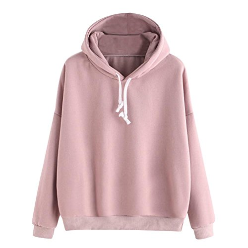 HGWXX7 Women Hoodie Sweatshirt Casual Solid Long Sleeve Pullover Tops Hooded Sweatshirts(XL,Pink)
