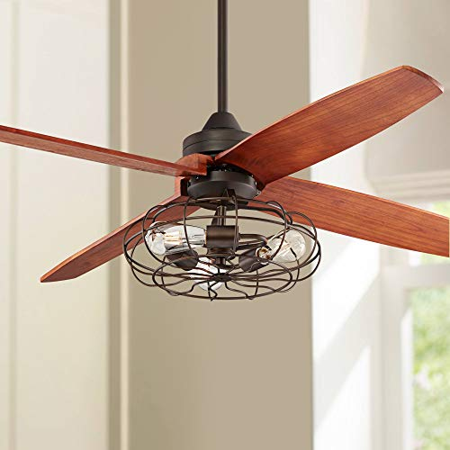52 Bronze Rubbed Vintage Cage LED Ceiling Fan – Casa Vieja