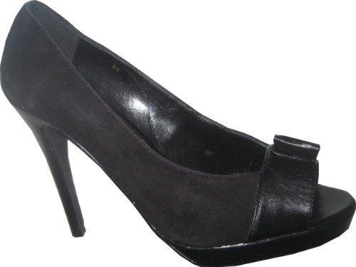 Apart Peeptoes - Zapatos de Vestir de cuero Mujer negro - negro