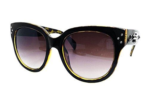 ium Oversize XXL Men Women Havana Tilda Shadow Brand Designer Style Retro Vintage Spike punk BIKE MOTORCYCLE harley gotica Sunglasses (BLACK BROWN, BLACK SOCIETY LABEL) ()