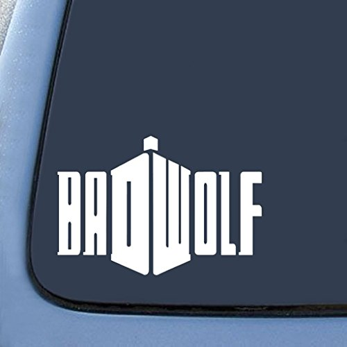 Badwolf Doctor Who Sticker Decal Notebook Car Laptop | White | 7 In | (Dr Who Adipose Costume)