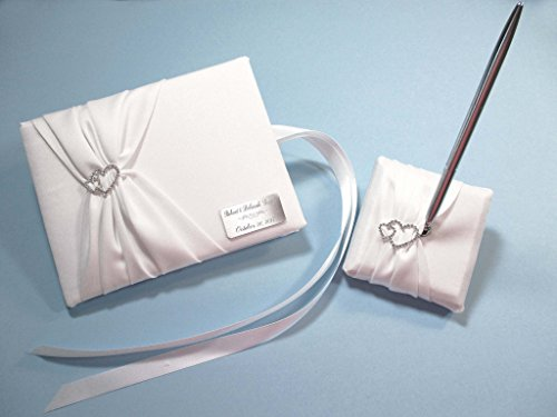 Personalized White Wedding Guest Book and Pen Set with Linked Hearts