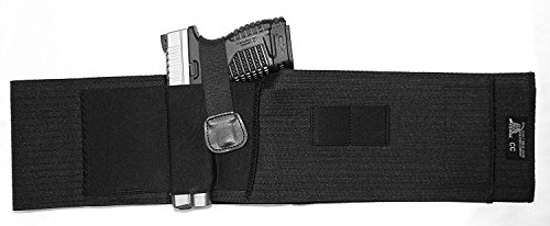 DTOM Breathable Elastic Belly Band Holster for Concealed Carry | Fits Small to Medium size guns such as Glock 19, 17, 42, 43, Ruger LCP, LC9, SR9c, XD compact, | For Men and Women | Ambidextrous |
