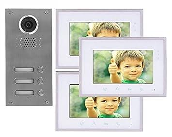 2 Draht 3-Familienhaus Video Türsprechanlage Gegensprechanlage mit 7 ...