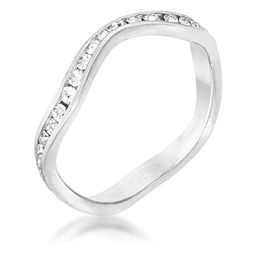 Kate Bissett Trendy Rhodium Wavy Swarovski Crystal Stackable Ring by Size 6 from Kate Bissett