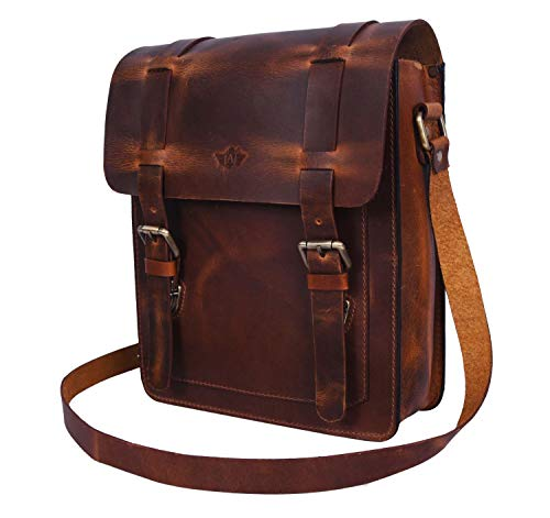 Addey Supply Company Small Messenger Bag Crossbody Shoulder Bag for Ipad 10 X 3.5 X 11 inch Caramel