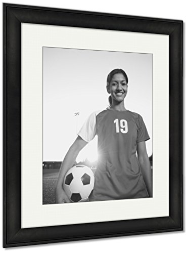 Ashley Framed Prints Mixed Race Woman Posing With Soccer Ball, Wall Art Home Decoration, Black/White, 40x34 (frame size), Black Frame, AG6509182 by Ashley Framed Prints
