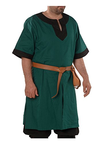 Loki Medieval Viking Cotton Half-Sleeve Tunic by Calvina Costumes - Made in Turkey -F.Gr/BLC L]()