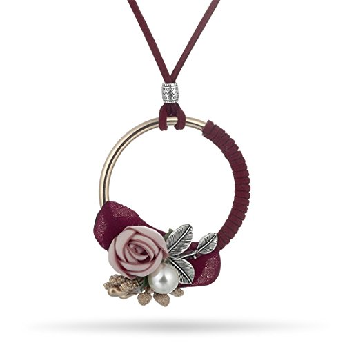 Long Leather Chain Steampunk Choker Necklaces Pendants WomenJewelry Ethnic Flower Simulation Pearl Colar Wine Red