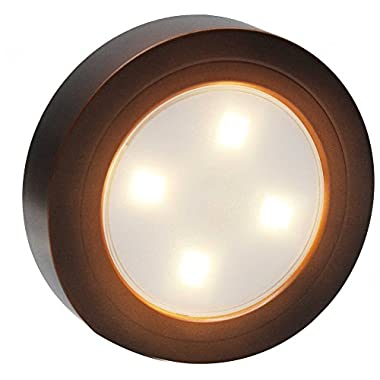 Super Bright Touch-Activated LED Cordless Tap Light, Battery-Operated Stick-On LED Puck Lights (Copper/Warm White)