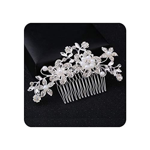 Wedding Elegant Five Petal Crystal Bride Hair Comb Flashing Ornaments Rhinestone Pearl Bridal Hair Clip Accessories Jewelry,1