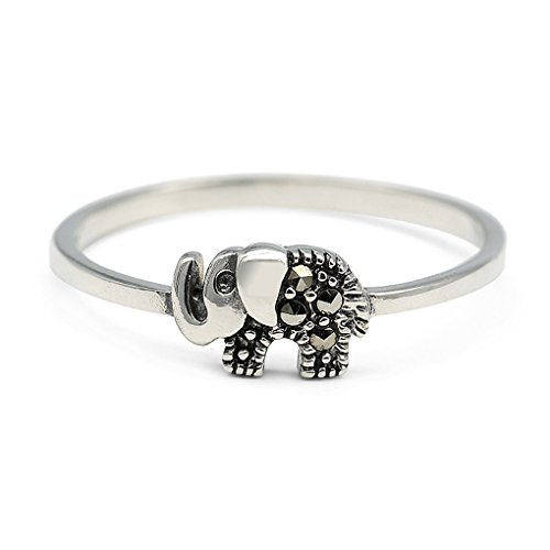 HANFLY 925 Sterling Silver Elephant Ring Sterling Silver Cute Animal ring (Size US7)