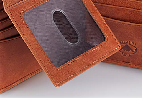 Stealth Mode Leather Bifold Wallet for Men With ID Window and RFID Blocking (Beige) by Stealth Mode (Image #3)