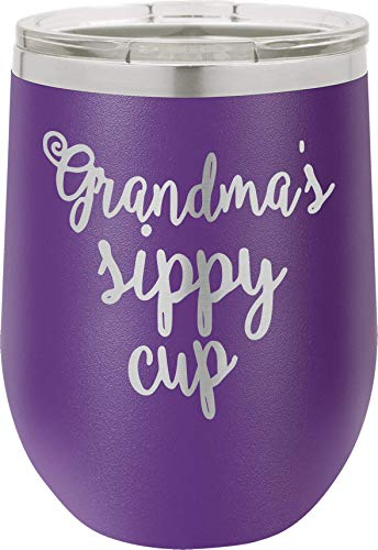 - 12oz Stainless Steel Stemless Wine Glass Tumbler with Lid | Grandmas Sippy Cup | Double Wall Vacuum Insulated | Fancy Gift for Women (Purple)