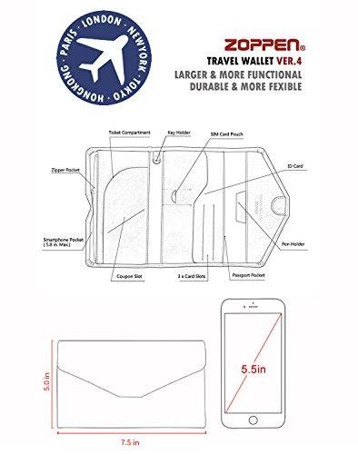 Zoppen Mulit-purpose Rfid Blocking Travel Passport Wallet (Ver.4) Tri-fold Document Organizer Holder, Wine Red / Burgundy