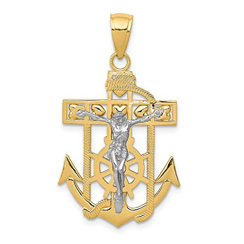 14k Two Tone Yellow Gold Nautical Anchor Ship Wheel Mariners Crucifix Cross Religious Pendant Charm Necklace Mariner Fine Jewelry Gifts For Women For Her