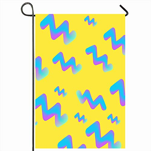 """Ahawoso Outdoor Garden Flags 12""""x18"""" Inch Style Blue Hipster Holographic Fluid Bright Pattern On Yellow Vintage Neon Abstract Chaos Color Vertical Double Sided Home Decorative House Yard Sign"""