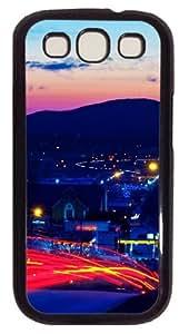 Night Lights Red Custom Samsung Galaxy I9300/Samsung Galaxy S3 Case Cover Polycarbonate Black
