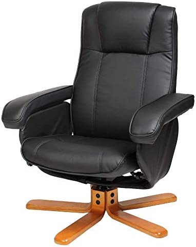 Evre Armchair With Foot Stool & Reclining Functions Swivel Padded Faux Leather - Black
