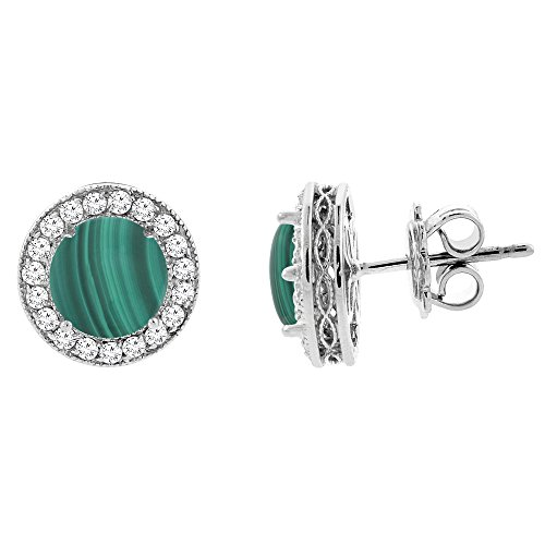 14K White Gold Natural Malachite Halo Earrings with Diamond Accent, 1/4 inch wide 14k Malachite Stud