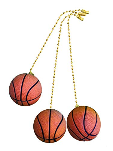 Decorative Basketball Sports Ceiling fan pull with beaded chain - 3 Pack - FA254