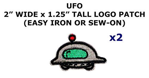 2 PCS UFO Space Aliens Theme DIY Iron / Sew-on Decorative Applique Patches