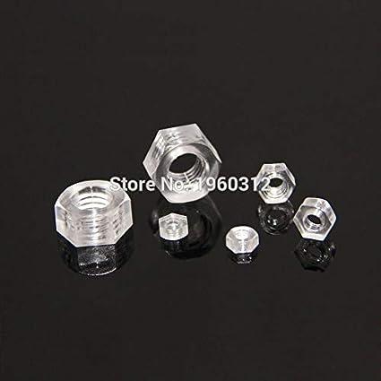 Size : M6 YJZG 50pcs M2.5 M3 M4 M5 M6 M8 Transparent Hexagon Acrylic PC Nut//Plastic Polycarbonate hex Nuts for Lighting lamp Installation