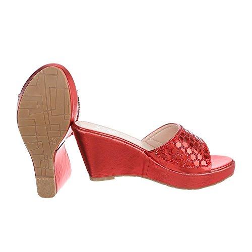 Ital-Design - zapatillas de baile (jazz y contemporáneo) Mujer Rot XF94-J