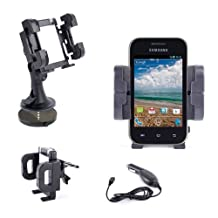 DURAGADGET Compact 3 In 1 Car Phone Mount + BONUS In-Car Charger For Samsung Discover S730G, Galaxy S Duos, Ace 2, Wave 575, Google Nexus, Wave M / M II, Wave 578, Omnia W, Nexus S Plus, Gusto 2 (Verizon Wireless), Evergreen SGH-A667 (AT&T), SPH-M370- Pewter Gray (Sprint) & Wave 723