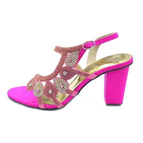 Wear & Walk UK W & W Mujeres Señoras Sandalias de moda de noche confort diamante novia boda hecho a mano zapatos tamaño 4–10(Sumit) Shocking Pink