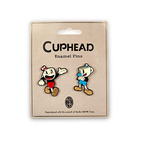 Cuphead & Mugman Metal Pin Set | Official Cuphead Video Game Collectible Enamel Pins | Set of 2